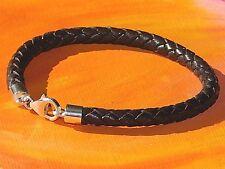 Ladies / mens 5mm Dark brown leather & sterling silver bracelet by Lyme Bay Art.