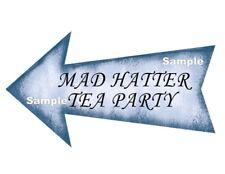 Alice in Wonderland Blue Arrow Sign Prop MAD HATTER TEA PARTY Birthday Wedding