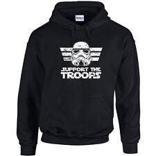 173 Support the Troops Hoodie storm trooper star geek nerd wars jedi vintage new