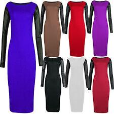 New Womens Plus Size PVC Shiny Wet Look Sleeve Midi Bodycon Dress 8-26