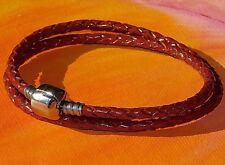 Ladies Tan double-wrap leather & steel European charm bracelet by Lyme Bay Art
