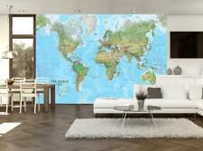 World Map Wallpaper Woven Self-Adhesive Wall Art Mural Decal M248