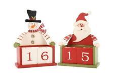 Xmas Wooden Advent Calendar Christmas Countdown Blocks Santa or Snowman NEW