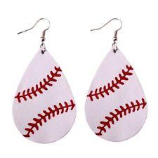 Fashion Baseball Leather Earrings Women Sports Softball Teardrop Leaf Earrings
