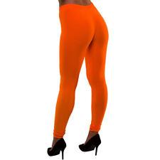 Adults Ladies 80's Neon Leggings - Orange Fancy Dress Disco Madonna 90s Costume