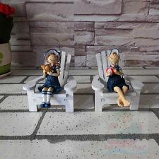 Nautical Decor(tall11cm) Girl and Boy Sitting in Beach Chair FIGURINE tropical