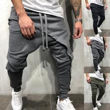Men Layer Casual Cargo Pants Jogger Elastic Hip Hop Sports Slim Harem Trousers /