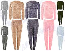 Ladies Womens 2Piece Marl Sweat Jogger Tracksuit Lightweight Jog Gym Lounge Suit