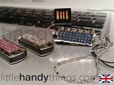 Damas/Niñas Cristal Bling 8GB USB Flash Drive/Pluma Memory Stick Azul/Rosa/Blanco