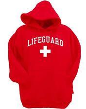 MENS Print Lifeguard beach safety Pool Staff SWEATSHIRT RED WHITE HOODIE JACKET