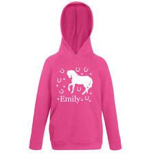Personalised Horse Hoodie Pink Shoe Girls Kids Hoody Aged 1-2 to 12-13 Equine