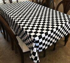 Poly Cotton 2 Inch Black & White Checkerboard Print Tablecloth NASCAR Party