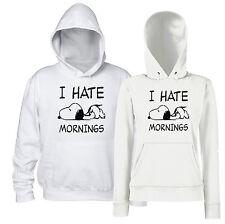 I Hate Mornings Felpa Cappuccio Snoopy Divertente Uomo Donna Odio La Mattina