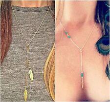 Mujer largo Collar Cadena de oro plateado hoja de pluma Perla Colgante Con Bolsa De Regalo