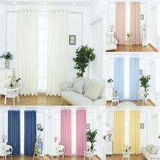 1Pcs Solid Color Eyelet Plain Curtains Blackout Door/ Window Drapers 100x250cm