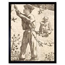 Homer Green Apples Picking Boys 1868 Drawing Wall Art Print Framed 12x16
