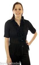Damen Bluse Kurzarm mit Volant Rüschen Knopfleiste Crashbluse 2 Wahl  Schwarz