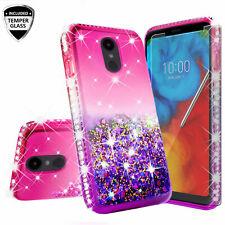For LG Escape Plus,K30/X2 2019,Arena 2 Liquid Glitter Case with Tempered Glass