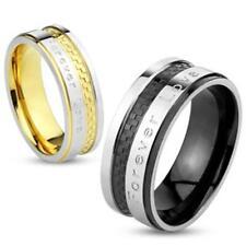 Edelstahl Ring silber gold schwarz 6/8mm Forever Love 47 (15) ? 69 (22)