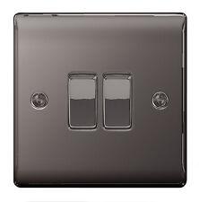 BG Nexus Metal NBN42 - BLACK NICKEL Double Switch 2 Gang 2 Way - Slimline