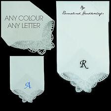 1x Mariposa Personalizado Encaje Pañuelo bordado letra inicial de esquina