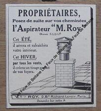 Publicité ancienne aspirateur de cheminées M Roy   ,1930,pub, advert