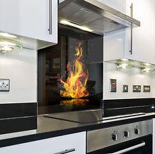 KÜCHENRÜCKWAND Spritzschutz Küche Gehärtetes Glas Rückwand Feuer element rot