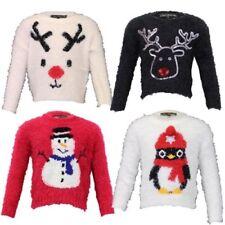 niña suéteres de Navidad Pingüino NOVEDAD Rudolf Mohair Muñeco Nieve Invierno