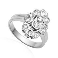 Russian Jewelry 14k Solid  White Gold Genuine F-VS2 Diamond Ring.