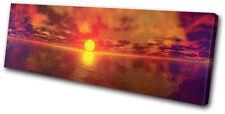 Sunset Seascape Panoramic SINGLE DOEK WALL ART foto afdrukken