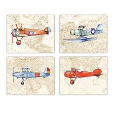 Planes wall art Baby Nursery decor Set 4 paper unframed prints 8x10 inch
