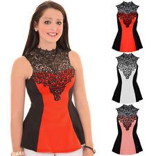 Ladies Sleeveless Floral Crochet Studded High Neck Contrast Flared Peplum Top
