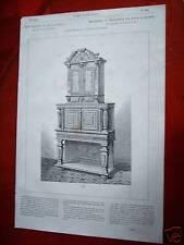 79-19-g Gravure 19e meuble - crédence en bois sculpté