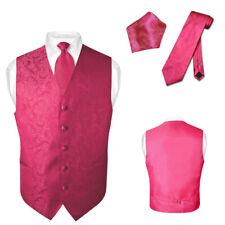 Men's Paisley Design Dress Vest & NeckTie HOT PINK FUCHSIA Color Neck Tie Set
