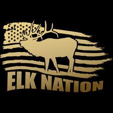 Elk Nation Flag Bull Antlers deer horns skull Hunting Sticker Decal