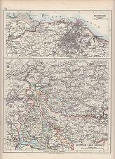 1897 VICTORIAN MAP ~ SCOTLAND ~ ENVIRONS OF EDINBURGH ~ SCOTTISH LAKE DISTRICT