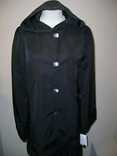 Jones NY Black Clip Closure Hooded Jacket S NWT $140