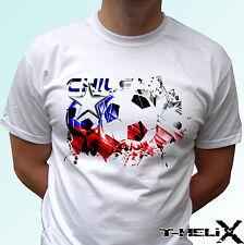Bandera de fútbol de Chile-Blanco T Shirt Top Camiseta De Fútbol-Hombres Mujeres Niños Bebé