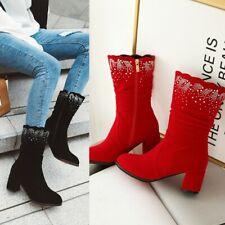 Women Ladies Fashion Faux Suede Diamante Block Heel Mid Calf Boots Shoes SKGB