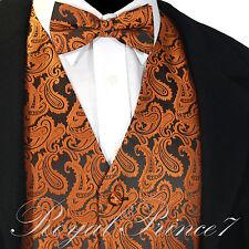 Rust Orange XS to 6XL Paisley Tuxedo Suit Dress Vest Waistcoat & Bow tie PROM