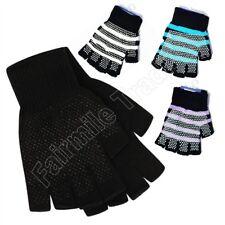 Black Gripper Gloves Half Finger Fingerless Grip Adults Mens Ladies One Size