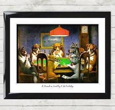 Framed Art Imprimer un ami dans le besoin par C.M. Coolidge Poker chiens Photo Poster 032