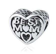 New Silver Plated Best Mum mother Love Heart friends Charm Fit European Bracelet