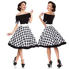Vintage Swing Kleid Retro Rockabilly Vintagekleid 50er Jahre Schwarz Weiß 34-46