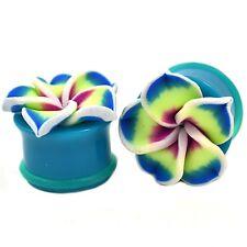 "PAIR - SINGLE FLARED TEAL HAWAIIAN FLOWER ACRYLIC EAR PLUGS GAUGES - 6g-1"""
