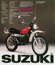 1976 SUZUKI TS-250 SAVAGE SALES SPECS AD/ BROCHURE