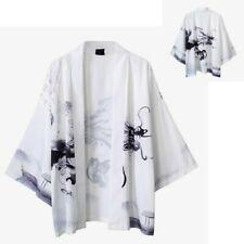 Men Japanese Kimono Cardigan Open Front Loose Oriental Coat Vintage Jacket