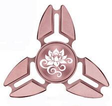 Fidget Spinner Tri-Spinner Aluminum Metal Lotus Flower Scroll