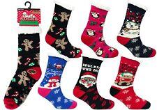 Ladies Thick Warm Heat Machine Sherpa Lined Christmas Slipper Socks 6 Designs