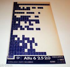 Microfich Ersatzteilkatalog Alfa Romeo Alfa 6 2.5 2.0 Stand Juli 83
